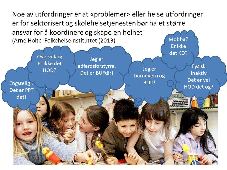 Noe av utfordringer er at «problemer» eller helse utfordringer er for sektorisert og skolehelsetjenesten bør ha et større ansvar for å koordinere og skape en helhet (Arne Holte Folkehelseinstituttet (2013) Engstelig .