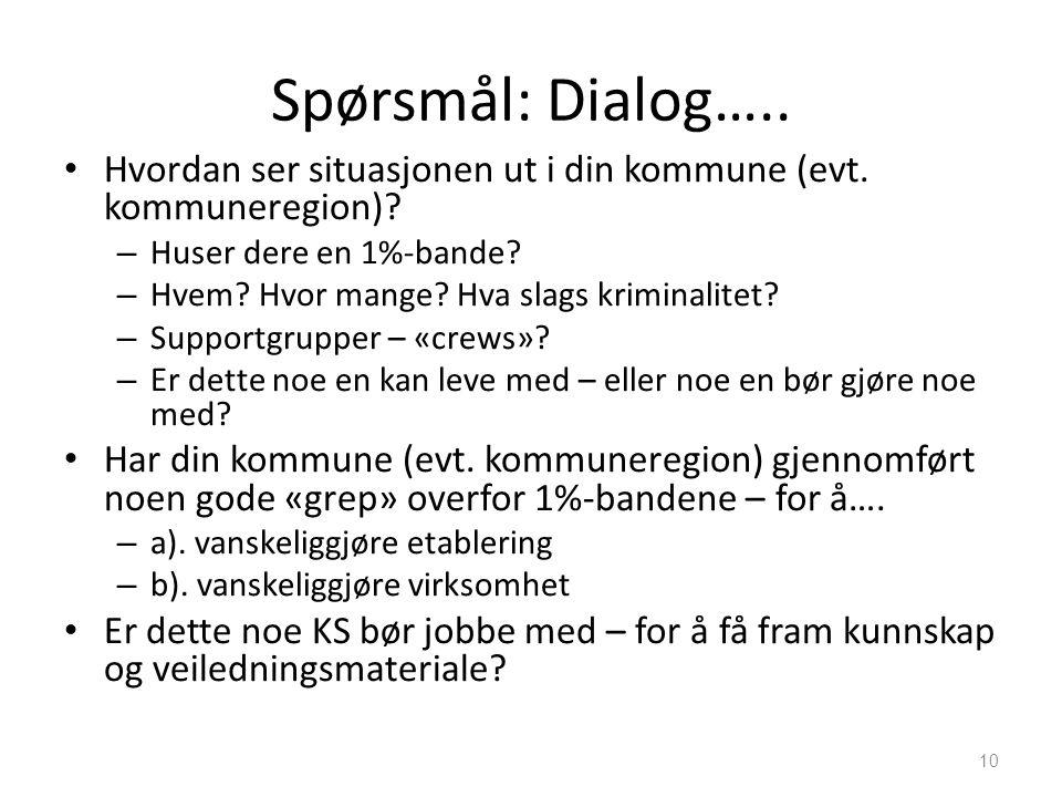 Spørsmål: Dialog….. • Hvordan ser situasjonen ut i din kommune (evt. kommuneregion)? – Huser dere en 1%-bande? – Hvem? Hvor mange? Hva slags kriminali
