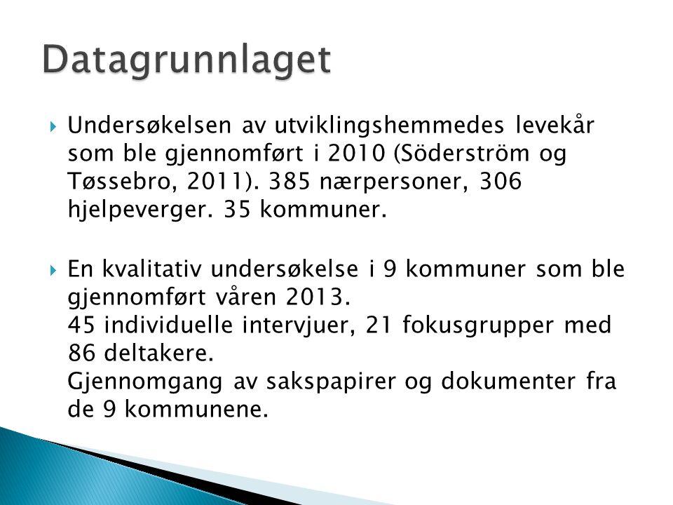  Undersøkelsen av utviklingshemmedes levekår som ble gjennomført i 2010 (Söderström og Tøssebro, 2011). 385 nærpersoner, 306 hjelpeverger. 35 kommune
