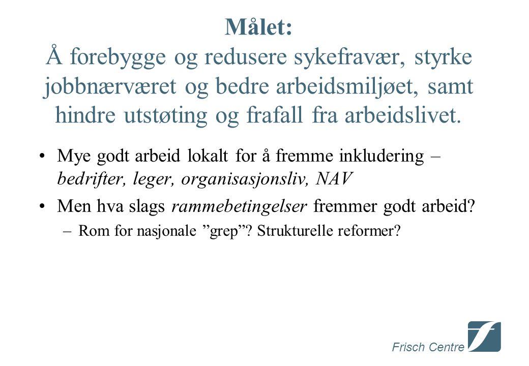 Frisch Centre Gradert sykmelding • Ekspertgruppe : Få slutt på lange fulltids sykmeldinger (annet enn i unntakstilfeller).