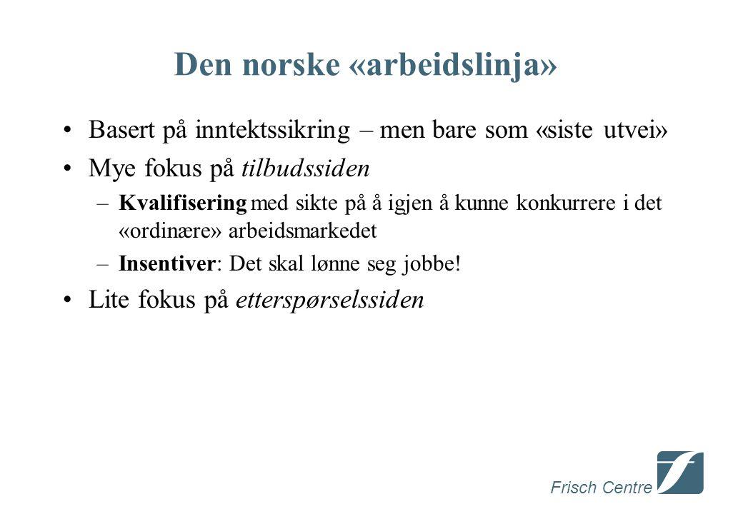 Frisch Centre Den norske «arbeidslinja» •Basert på inntektssikring – men bare som «siste utvei» •Mye fokus på tilbudssiden –Kvalifisering med sikte på å igjen å kunne konkurrere i det «ordinære» arbeidsmarkedet –Insentiver: Det skal lønne seg jobbe.