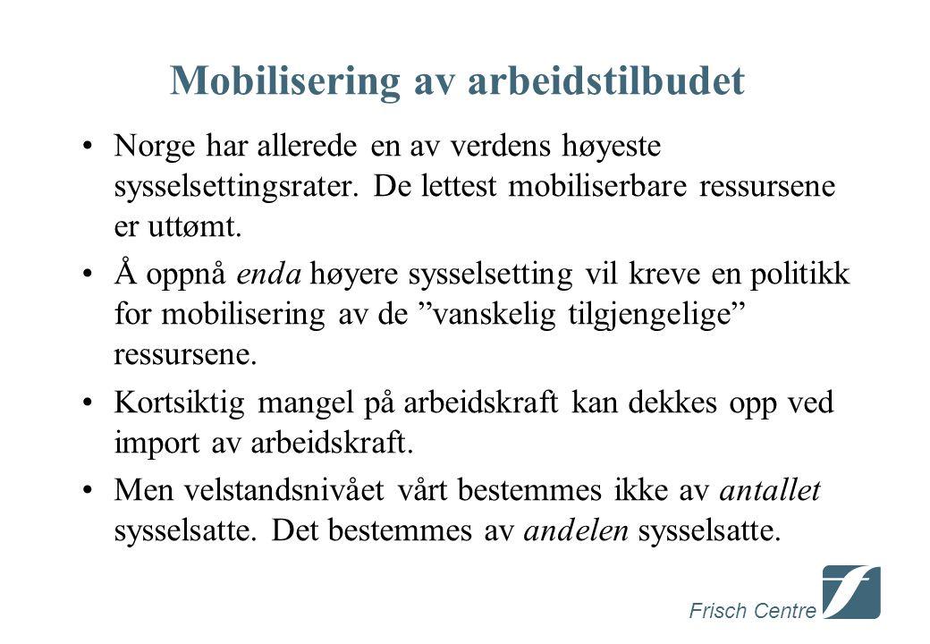 Frisch Centre Mobilisering av arbeidstilbudet •Norge har allerede en av verdens høyeste sysselsettingsrater.