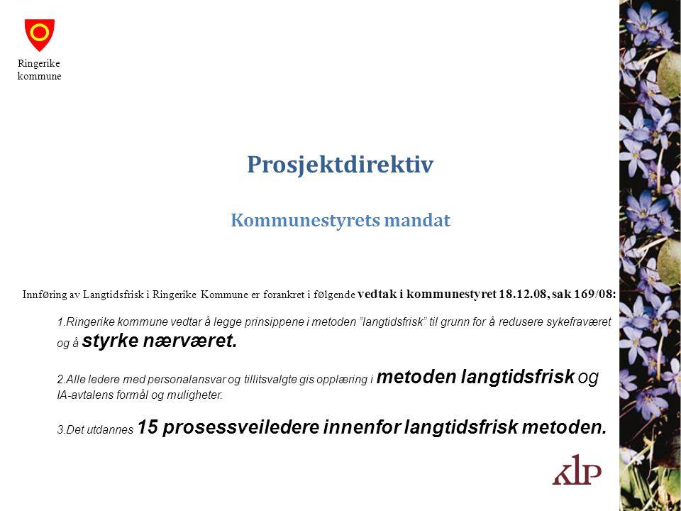 Prosjektdirektiv Kommunestyrets mandat Innf ø ring av Langtidsfrisk i Ringerike Kommune er forankret i f ø lgende vedtak i kommunestyret 18.12.08, sak