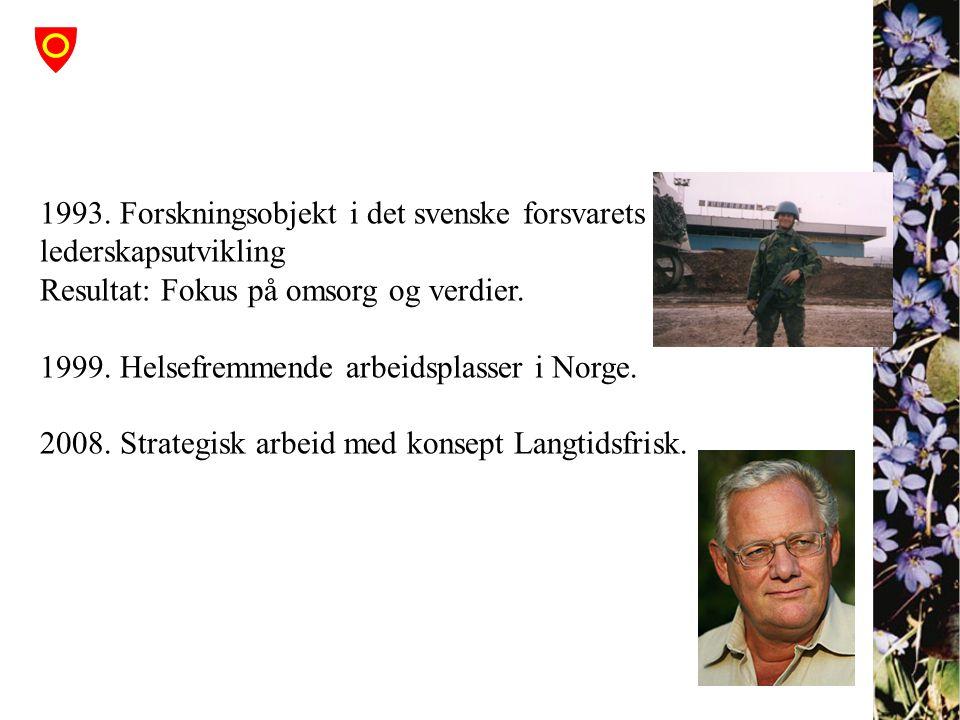 1993. Forskningsobjekt i det svenske forsvarets lederskapsutvikling Resultat: Fokus på omsorg og verdier. 1999. Helsefremmende arbeidsplasser i Norge.