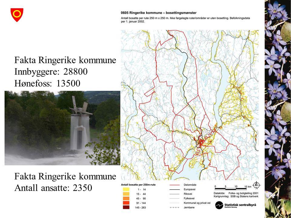 Fakta Ringerike kommune Innbyggere: 28800 Hønefoss: 13500 Fakta Ringerike kommune Antall ansatte: 2350