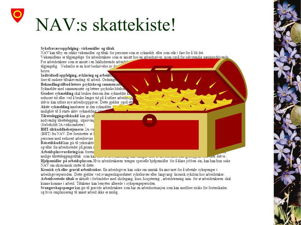 NAV:s skattekiste! Sykefraværsoppfølging - virkemidler og tiltak NAV kan tilby en rekke virkemidler og tiltak for personer som er sykmeldt, eller som