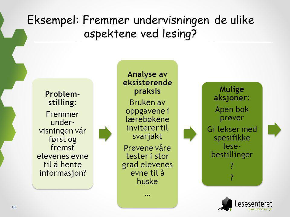 18 Eksempel: Fremmer undervisningen de ulike aspektene ved lesing? Problem- stilling: Fremmer under- visningen vår først og fremst elevenes evne til å