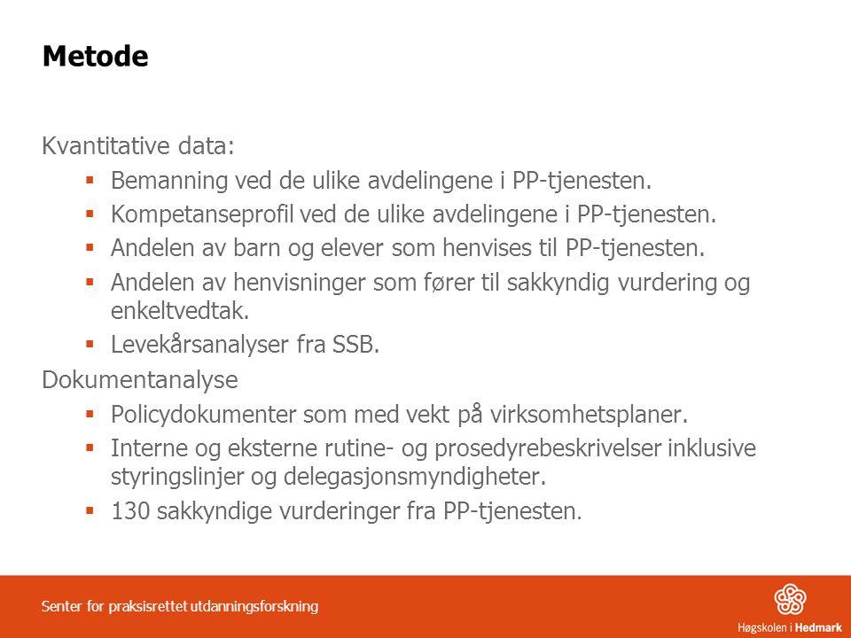 Metode Kvantitative data:  Bemanning ved de ulike avdelingene i PP-tjenesten.  Kompetanseprofil ved de ulike avdelingene i PP-tjenesten.  Andelen a