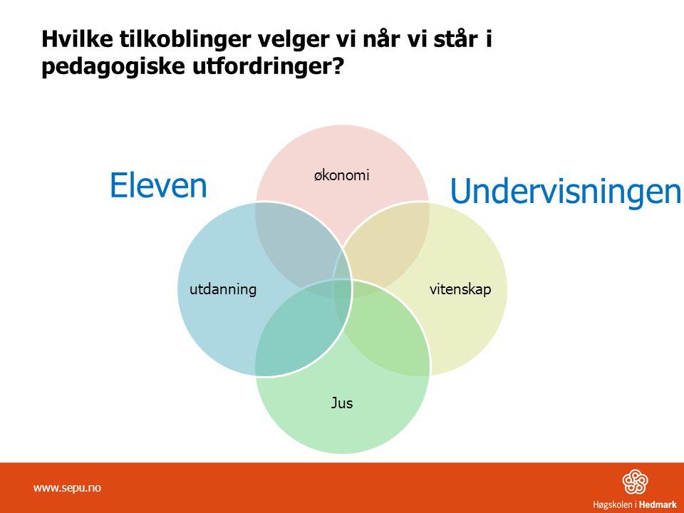 Hvilke tilkoblinger velger vi når vi står i pedagogiske utfordringer? økonomi vitenskap Jus utdanning Eleven Undervisningen www.sepu.no