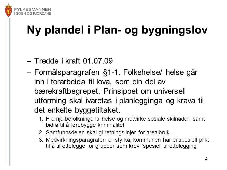 4 Ny plandel i Plan- og bygningslov –Tredde i kraft 01.07.09 –Formålsparagrafen §1-1.