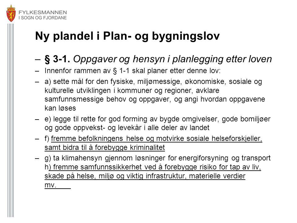 Ny plandel i Plan- og bygningslov –§ 3-1. Oppgaver og hensyn i planlegging etter loven –Innenfor rammen av § 1-1 skal planer etter denne lov: –a) sett