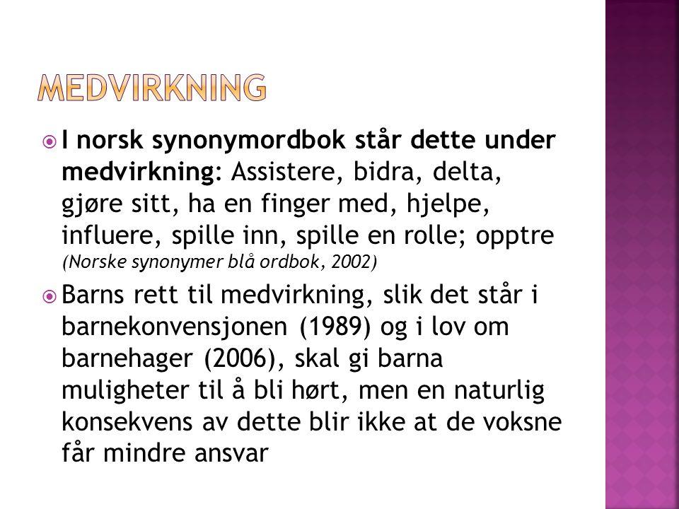 I norsk synonymordbok står dette under medvirkning: Assistere, bidra, delta, gjøre sitt, ha en finger med, hjelpe, influere, spille inn, spille en r