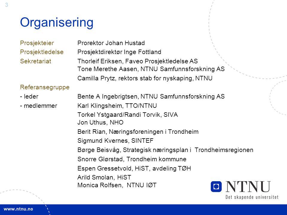 3 Organisering Prosjekteier Prorektor Johan Hustad ProsjektledelseProsjektdirektør Inge Fottland SekretariatThorleif Eriksen, Faveo Prosjektledelse AS