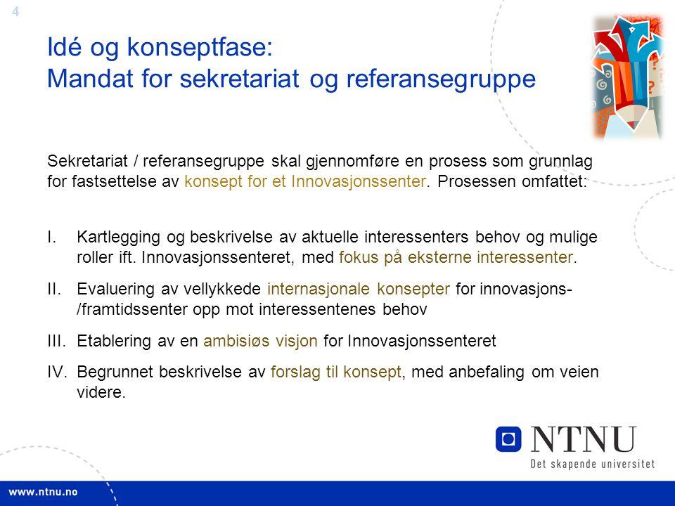 4 Idé og konseptfase: Mandat for sekretariat og referansegruppe Sekretariat / referansegruppe skal gjennomføre en prosess som grunnlag for fastsettels