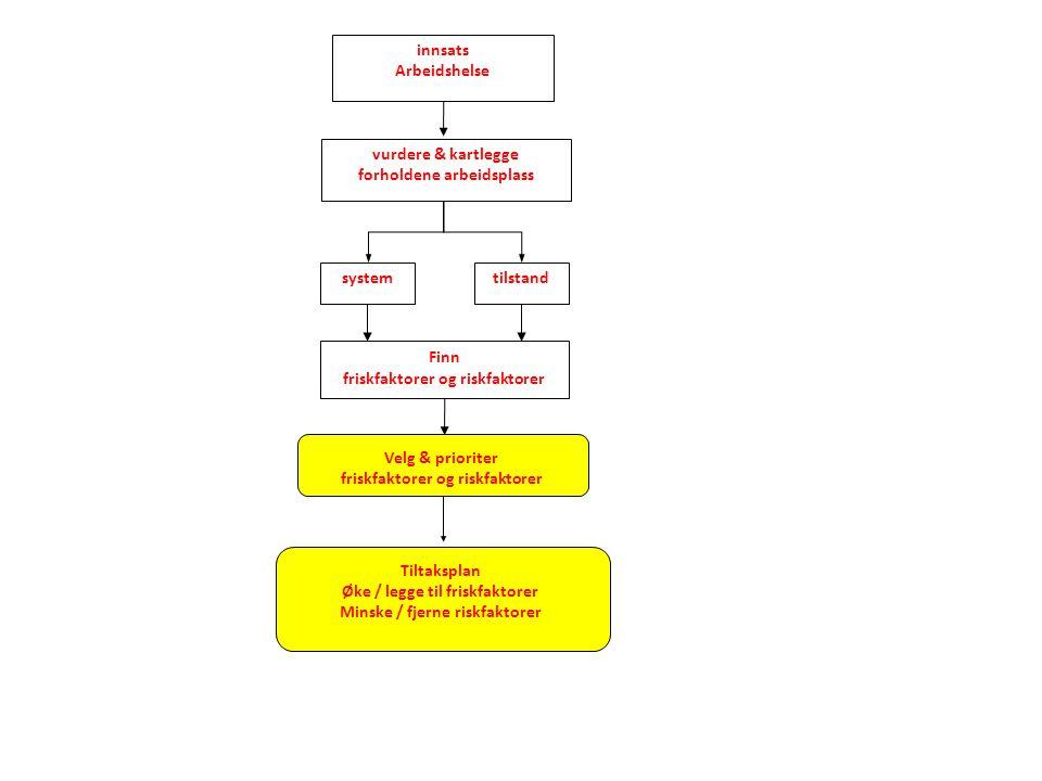 Velg & prioriter friskfaktorer og riskfaktorer vurdere & kartlegge forholdene arbeidsplass tilstandsystem innsats Arbeidshelse Finn friskfaktorer og r