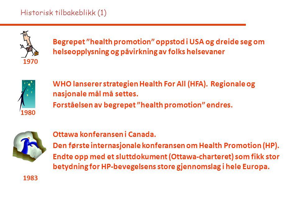 """Begrepet """"health promotion"""" oppstod i USA og dreide seg om helseopplysning og påvirkning av folks helsevaner 1970 WHO lanserer strategien Health For A"""