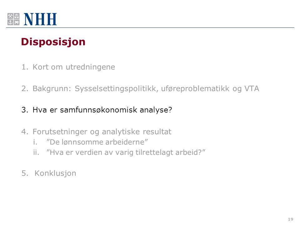 Disposisjon 1.Kort om utredningene 2.Bakgrunn: Sysselsettingspolitikk, uføreproblematikk og VTA 3.Hva er samfunnsøkonomisk analyse.