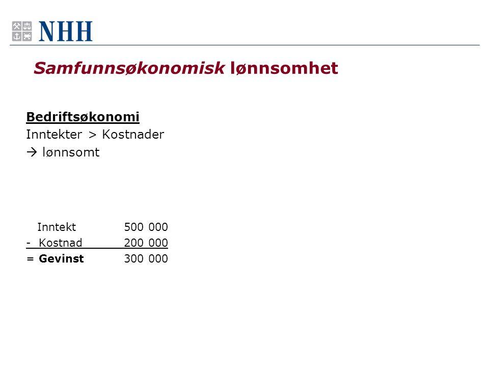 Samfunnsøkonomisk lønnsomhet Bedriftsøkonomi Inntekter > Kostnader  lønnsomt Inntekt500 000 - Kostnad200 000 = Gevinst300 000