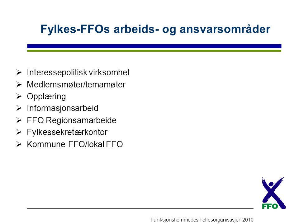Funksjonshemmedes Fellesorganisasjon 2010 Fylkes-FFOs arbeids- og ansvarsområder  Interessepolitisk virksomhet  Medlemsmøter/temamøter  Opplæring 