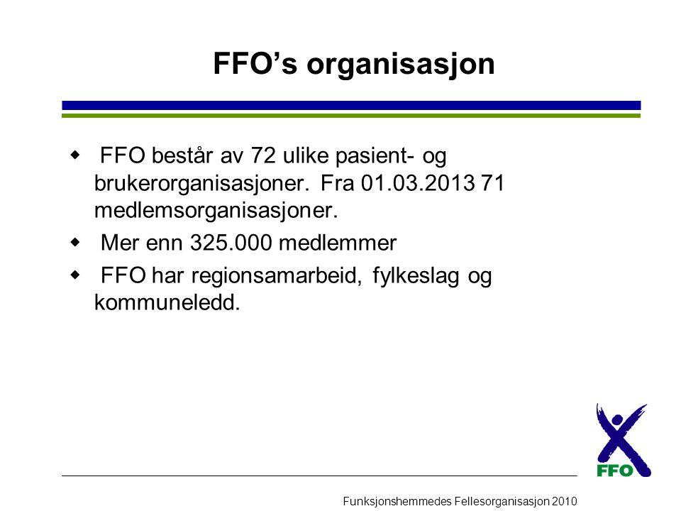 Funksjonshemmedes Fellesorganisasjon 2010 FFO's organisasjon  FFO består av 72 ulike pasient- og brukerorganisasjoner. Fra 01.03.2013 71 medlemsorgan