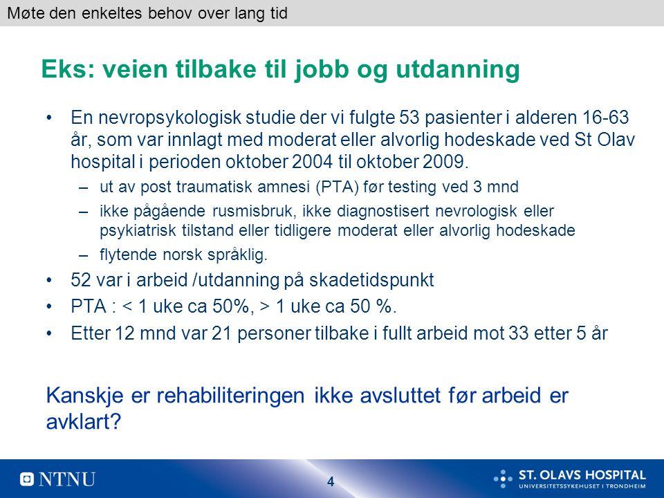 4 Eks: veien tilbake til jobb og utdanning •En nevropsykologisk studie der vi fulgte 53 pasienter i alderen 16-63 år, som var innlagt med moderat eller alvorlig hodeskade ved St Olav hospital i perioden oktober 2004 til oktober 2009.