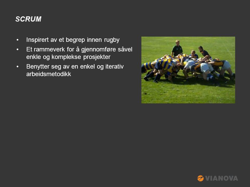 SCRUM •Inspirert av et begrep innen rugby •Et rammeverk for å gjennomføre såvel enkle og komplekse prosjekter •Benytter seg av en enkel og iterativ arbeidsmetodikk