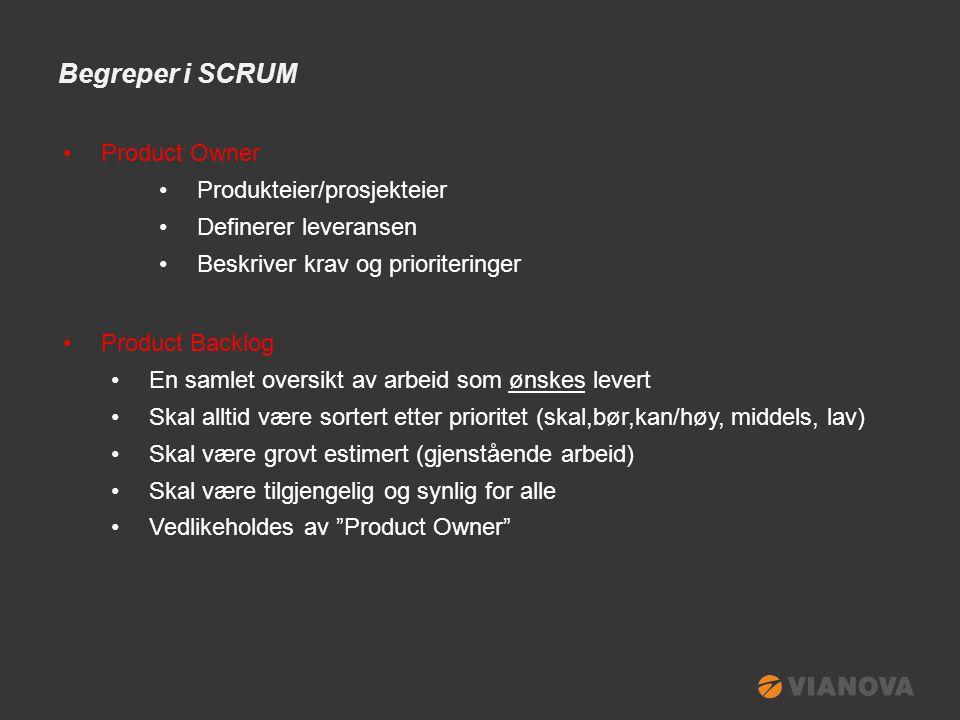 Begreper i SCRUM •Scrum-master •Prosess-leder •Fasilitator (tilrettelegger) •Overvåker den daglige produksjonen •Scrum-team •Produksjonsenhet •Ansvarlig for (del) leveransen •Gruppe på 4-7 personer (inklusive de 2 ovennevnte)