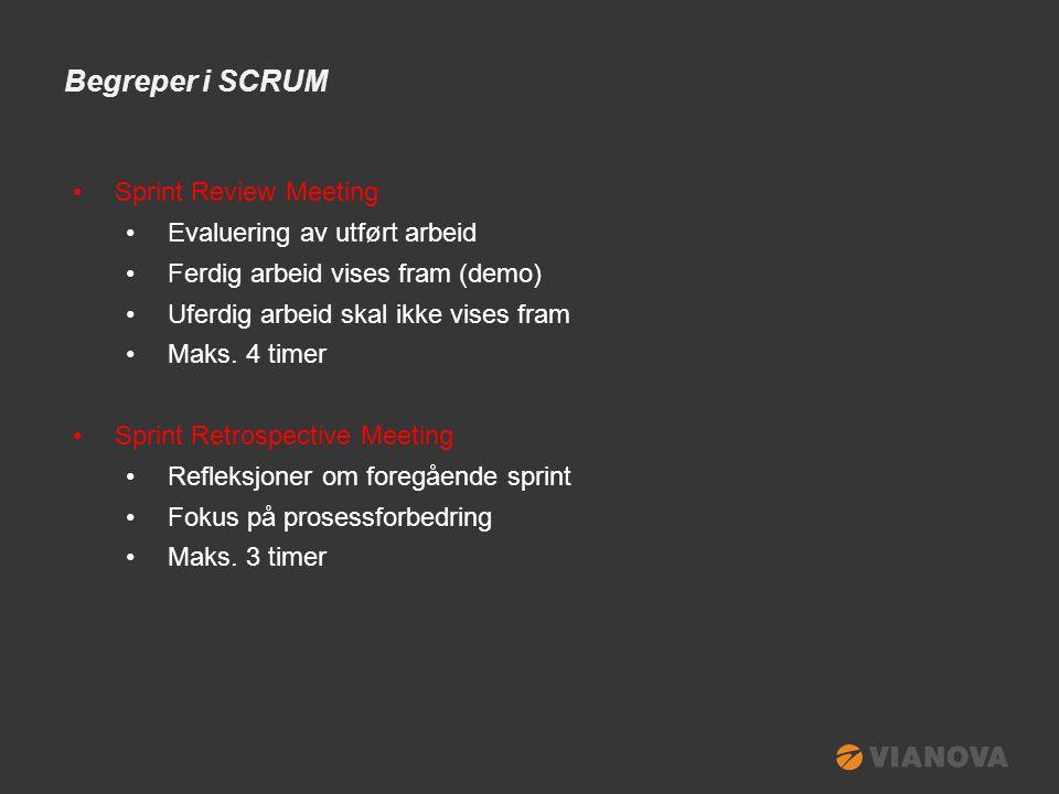 Begreper i SCRUM •Sprint Review Meeting •Evaluering av utført arbeid •Ferdig arbeid vises fram (demo) •Uferdig arbeid skal ikke vises fram •Maks.