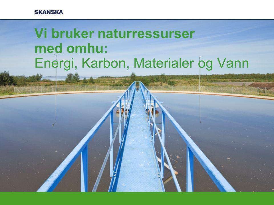 Vi bruker naturressurser med omhu: Energi, Karbon, Materialer og Vann