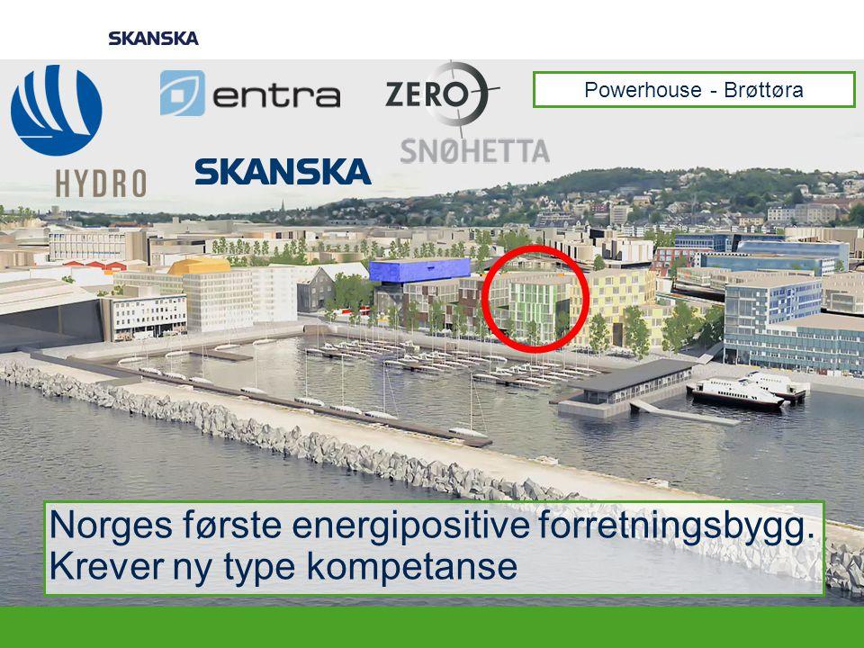 Norges første energipositive forretningsbygg. Krever ny type kompetanse Powerhouse - Brøttøra