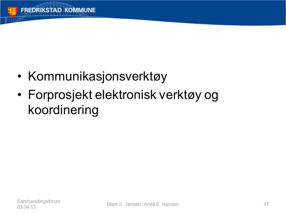 •Kommunikasjonsverktøy •Forprosjekt elektronisk verktøy og koordinering Samhandlingsforum 03.04.13 Marit S.