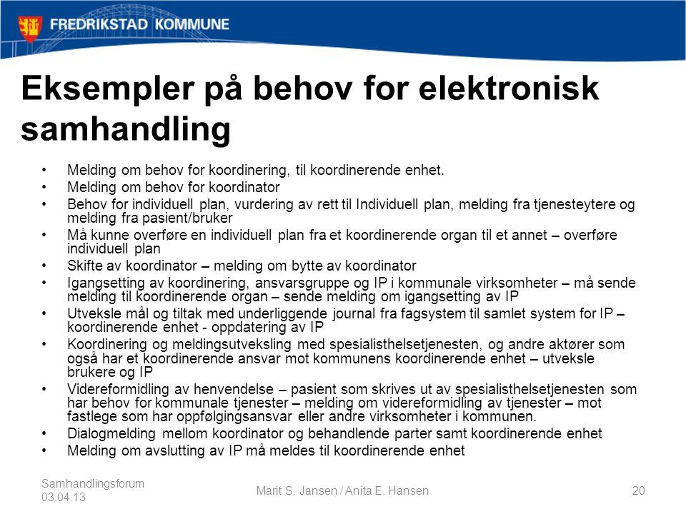 Eksempler på behov for elektronisk samhandling •Melding om behov for koordinering, til koordinerende enhet.