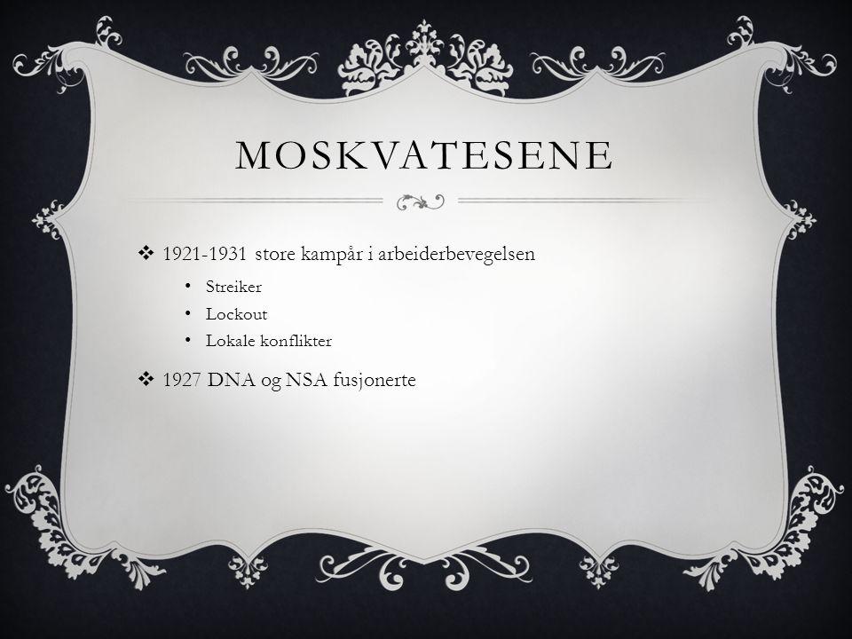 MOSKVATESENE  1921-1931 store kampår i arbeiderbevegelsen • Streiker • Lockout • Lokale konflikter  1927 DNA og NSA fusjonerte