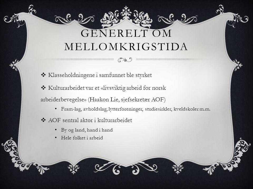 GENERELT OM MELLOMKRIGSTIDA  Klasseholdningene i samfunnet ble styrket  Kulturarbeidet var et «livsviktig arbeid for norsk arbeiderbevegelse» (Haako