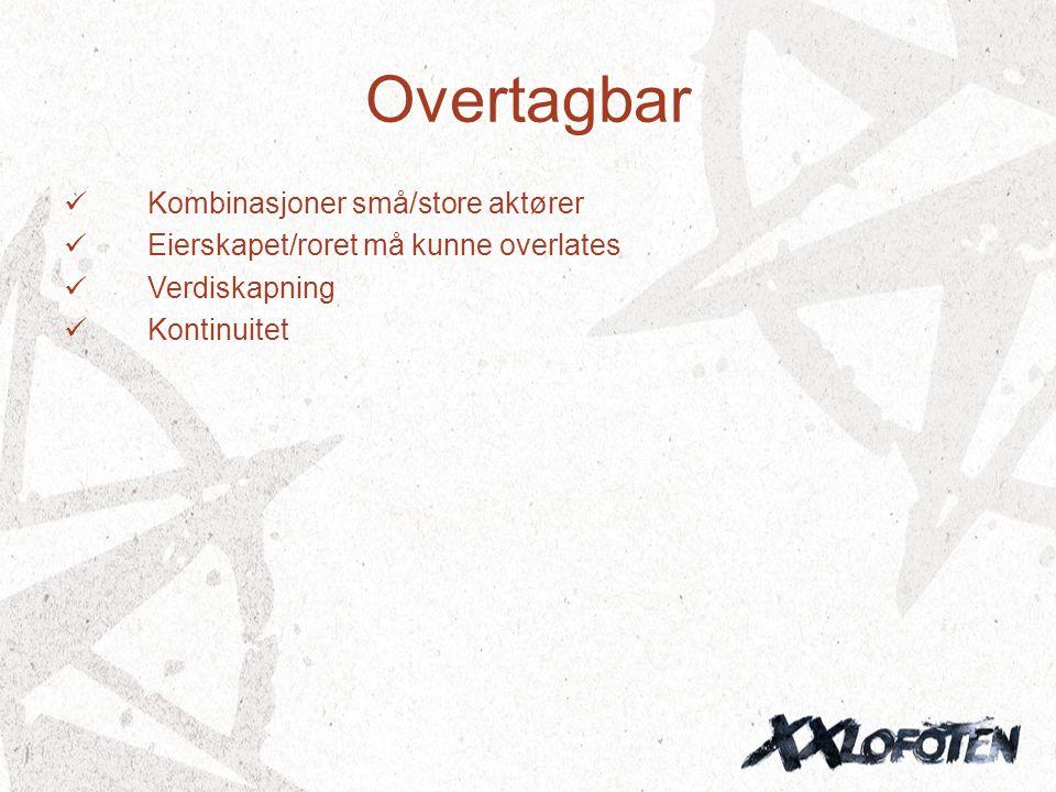 Overtagbar  Kombinasjoner små/store aktører  Eierskapet/roret må kunne overlates  Verdiskapning  Kontinuitet
