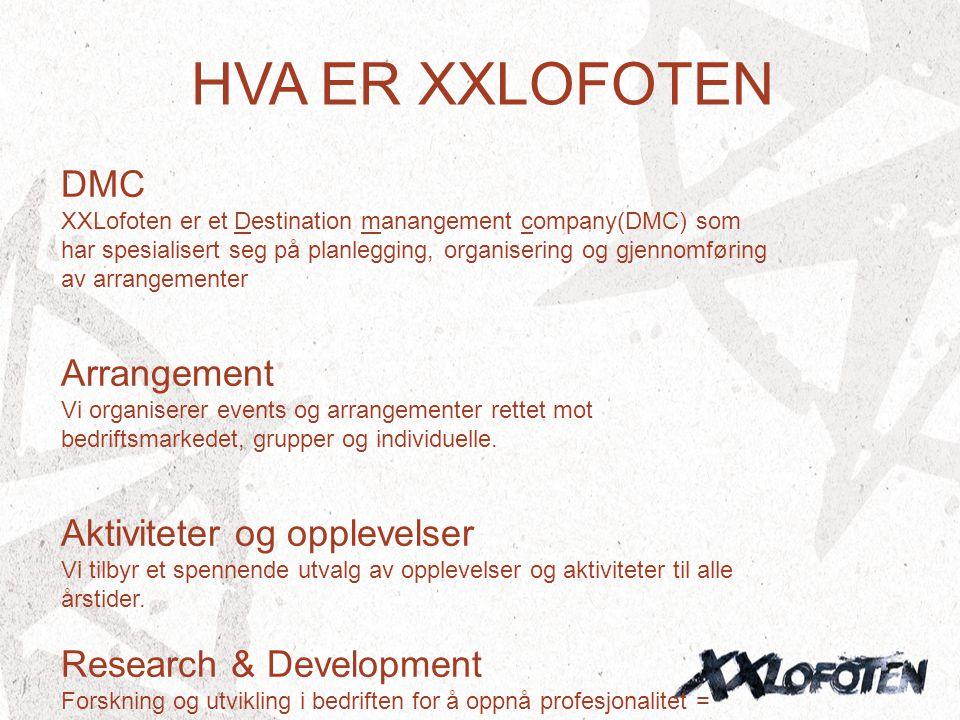 HVA ER XXLOFOTEN DMC XXLofoten er et Destination manangement company(DMC) som har spesialisert seg på planlegging, organisering og gjennomføring av ar