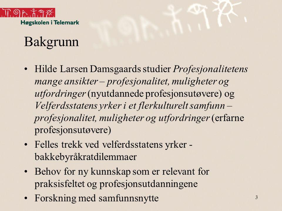 Bakgrunn •Hilde Larsen Damsgaards studier Profesjonalitetens mange ansikter – profesjonalitet, muligheter og utfordringer (nyutdannede profesjonsutøve