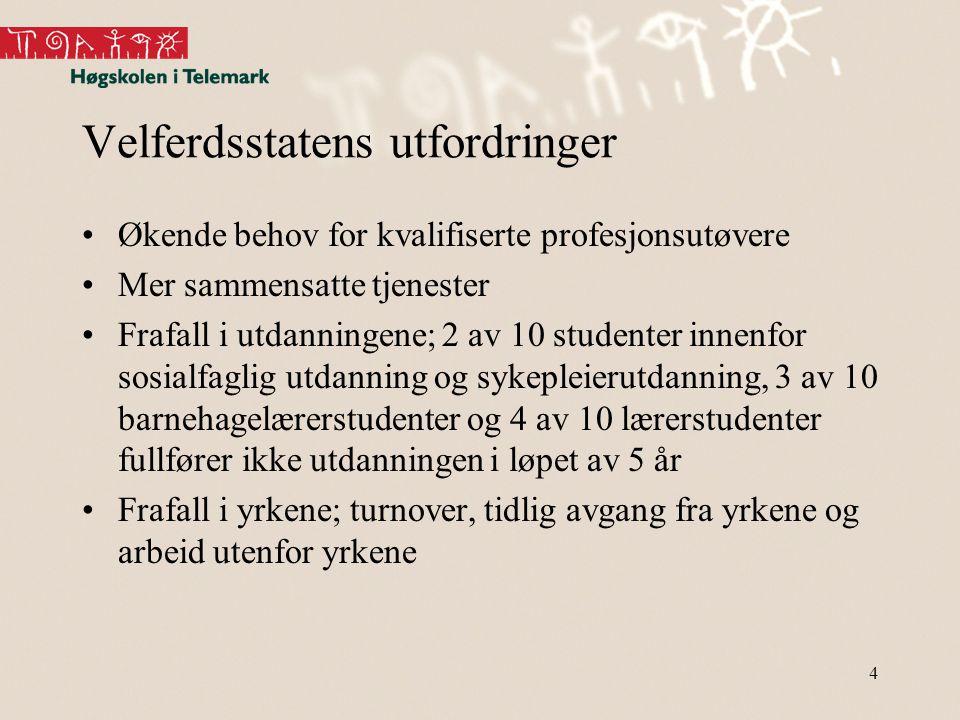 Velferdsstatens utfordringer •Økende behov for kvalifiserte profesjonsutøvere •Mer sammensatte tjenester •Frafall i utdanningene; 2 av 10 studenter in