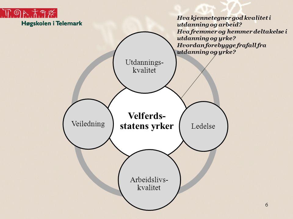 6 Velferds- statens yrker Utdannings- kvalitet Ledelse Arbeidslivs- kvalitet Veiledning Hva kjennetegner god kvalitet i utdanning og arbeid? Hva fremm
