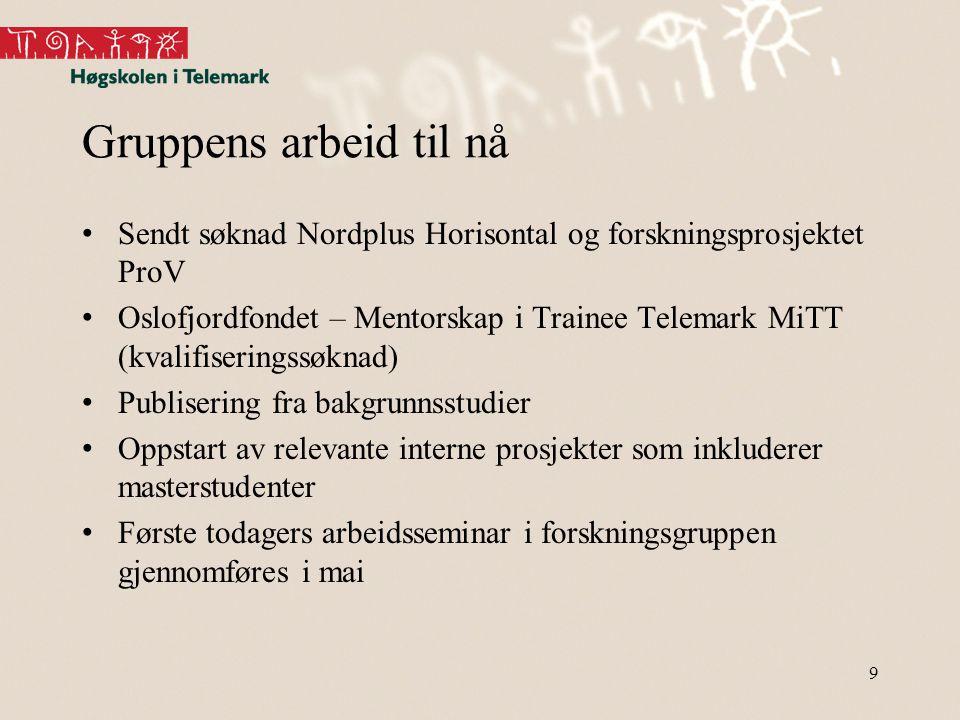 Gruppens arbeid til nå • Sendt søknad Nordplus Horisontal og forskningsprosjektet ProV • Oslofjordfondet – Mentorskap i Trainee Telemark MiTT (kvalifi