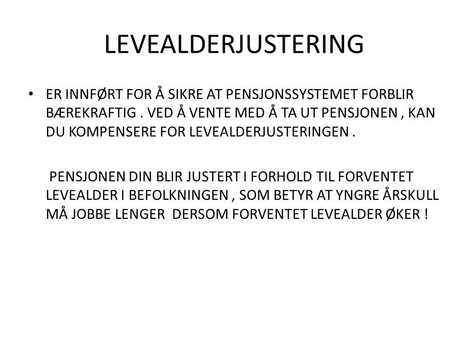 LEVEALDERJUSTERING • ER INNFØRT FOR Å SIKRE AT PENSJONSSYSTEMET FORBLIR BÆREKRAFTIG.