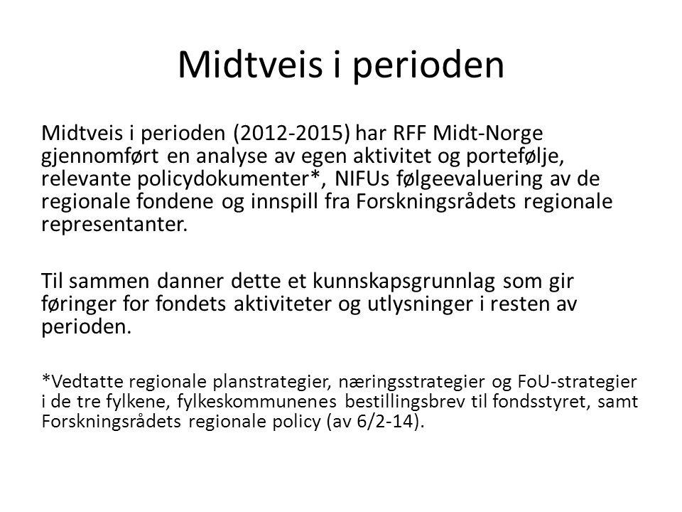 Midtveis i perioden Midtveis i perioden (2012-2015) har RFF Midt-Norge gjennomført en analyse av egen aktivitet og portefølje, relevante policydokumen