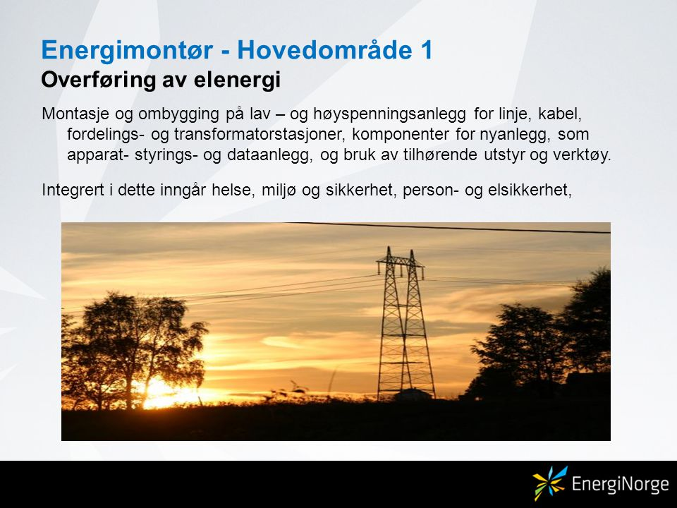 Energimontør - Hovedområde 2 Drift, vedlikehold og styringssystemer Drift, vedlikehold, feilsøking, overvåking, beredskap og målinger i fordelingsnett, utbedring av førstelinjefeil på linjenett, fordelingsanlegg og transformatorstasjoner.