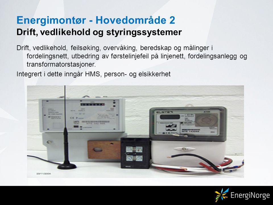 Energimontør - Hovedområde 2 Drift, vedlikehold og styringssystemer Drift, vedlikehold, feilsøking, overvåking, beredskap og målinger i fordelingsnett