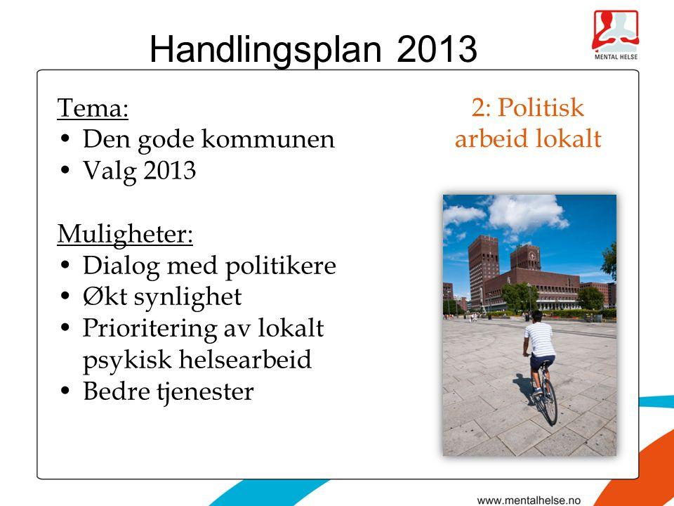 2: Politisk arbeid lokalt Tema: •Den gode kommunen •Valg 2013 Muligheter: •Dialog med politikere •Økt synlighet •Prioritering av lokalt psykisk helsearbeid •Bedre tjenester Handlingsplan 2013