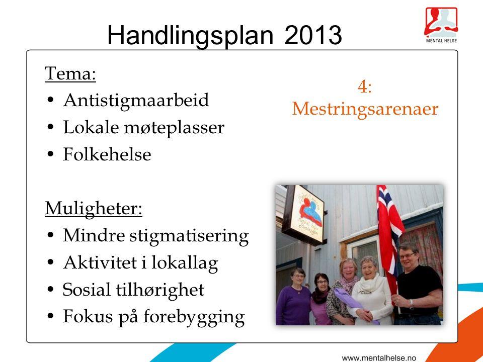 4: Mestringsarenaer Tema: •Antistigmaarbeid •Lokale møteplasser •Folkehelse Muligheter: •Mindre stigmatisering •Aktivitet i lokallag •Sosial tilhørighet •Fokus på forebygging Handlingsplan 2013