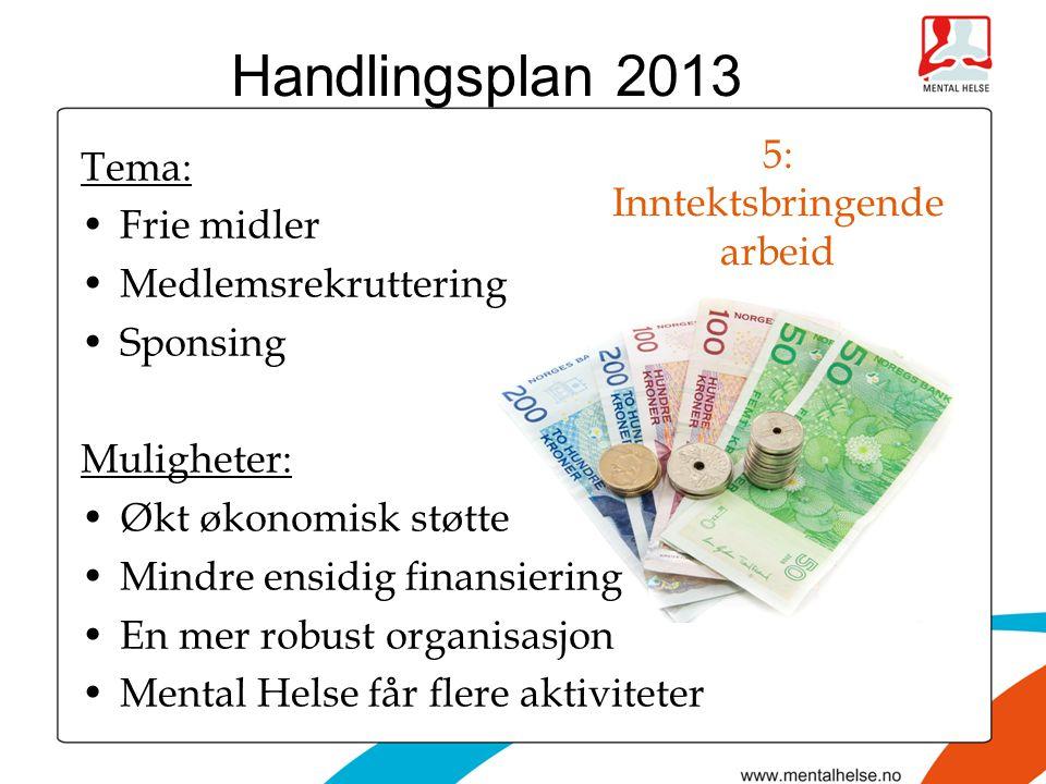 5: Inntektsbringende arbeid Tema: •Frie midler •Medlemsrekruttering •Sponsing Muligheter: •Økt økonomisk støtte •Mindre ensidig finansiering •En mer robust organisasjon •Mental Helse får flere aktiviteter Handlingsplan 2013