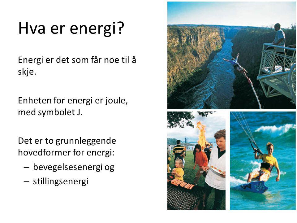 Hva er energi? Energi er det som får noe til å skje. Enheten for energi er joule, med symbolet J. Det er to grunnleggende hovedformer for energi: – be