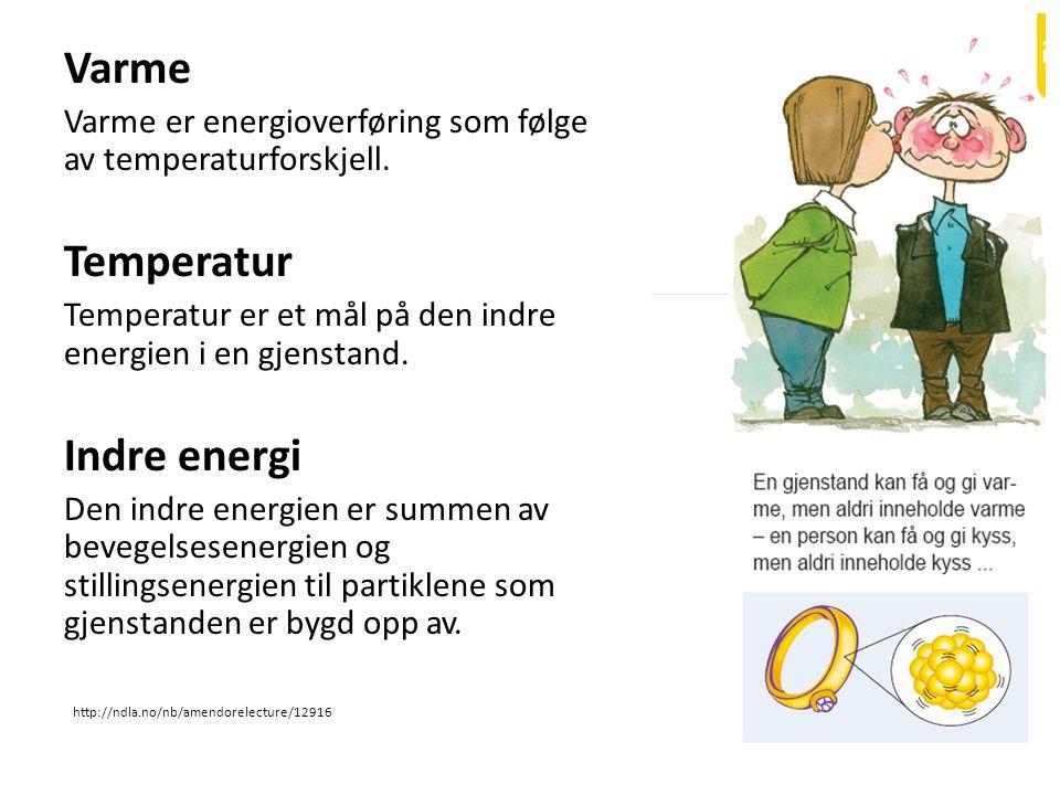 Varme Varme er energioverføring som følge av temperaturforskjell. Temperatur Temperatur er et mål på den indre energien i en gjenstand. Indre energi D