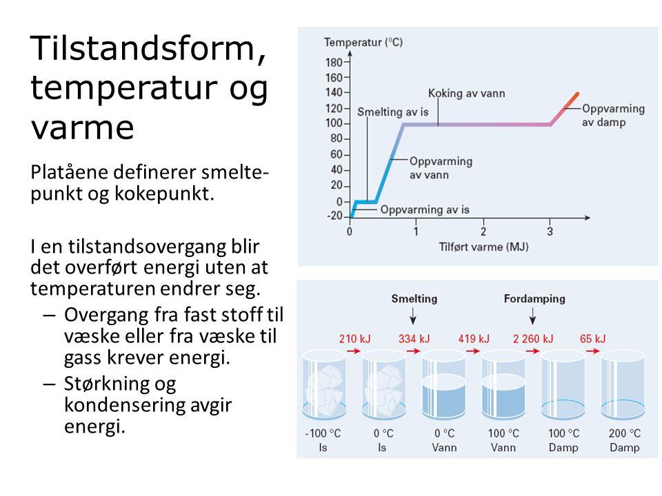 Spesifikk varmekapasitet (c) Spesifikk varmekapasitet (c) forteller hvor mye varme vi må tilføre 1 kg av et stoff for å få en temperaturstigning på 1 °C.